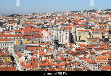 Aa aerial view of Lisbon, Portugal including the Baixa district with the Santa Justa Lift in the centre of the image. Taken from Castilo Sao Jorge - Stock Photo