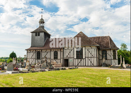 The half-timbered Church of Saint-Quentin, built in 1761 by a carpenter of Dienville. The church is located in the heart of the Orient Forest Regional - Stock Photo