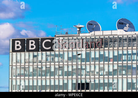 Front facade of the BBC Scotland main offices at Pacific Quay, Glasgow, Scotland, UK - Stock Photo
