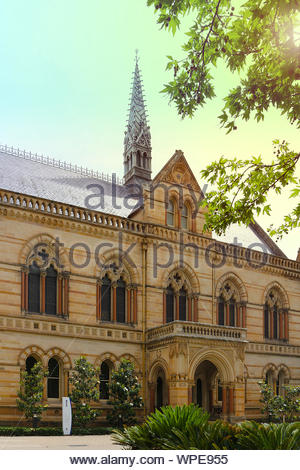 The Mitchell Building of the University of Adelaide (South Australia) in Gothic style built in 19th century - Stock Photo