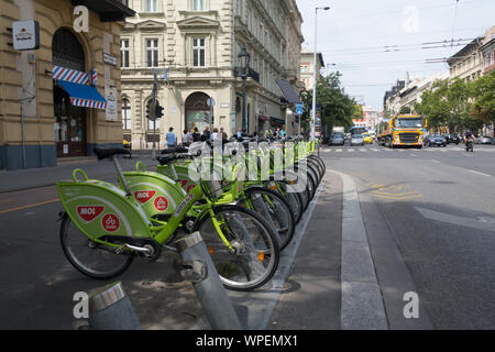 Budapest, Hungary - Aug 16, 2019: BuBi Moll rent a bike station in Budapest - Stock Photo