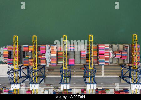 Aerial view sea port Container cargo loading ship in import export business logistic. Freight transportation. shipping business logistic. Trade Port a - Stock Photo