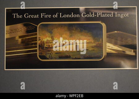 A picture of The Great Fire of London Gold-plated Ingot. A brand new collectors item released in 2019 for collectors and enthusiasts. - Stock Photo