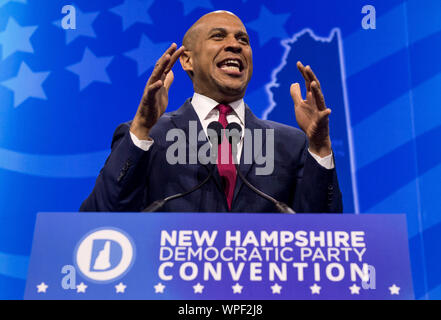 Manchester, New Hampshire, USA. 07th Sep, 2019. Democratic presidential candidate CORY BOOKER speaks at the New Hampshire State Democratic Convention. Credit: Brian Cahn/ZUMA Wire/Alamy Live News
