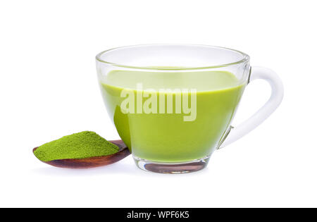 Hot green tea matcha latte with powdered green tea isolated on white background. - Stock Photo