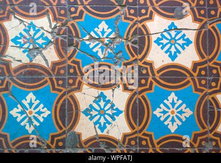 Traditional ornamental tilework. Old beautiful ceramic tiles. - Stock Photo