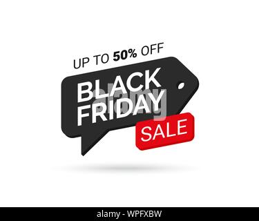 Black Friday Sale tag. Design element for sale banners, posters, cards. Promotional marketing discount event. Design element for advertising shopping. - Stock Photo