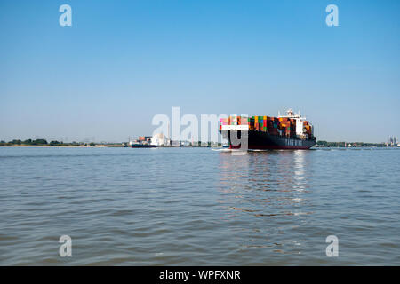 Stadersand, Germany - August 25, 2019: Container vessel YM Essence from Yang Ming shipping line crossing nuclear power station Stade on Elbe River at - Stock Photo