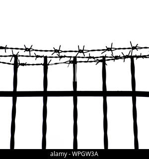 Silhouette Barbed Wire Fence Against Clear Sky - Stock Photo