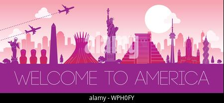 top famous landmark of america,silhouette design pink color,vector illustration - Stock Photo