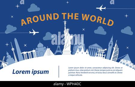 world top famous landmark silhouette style on white curve,trip and tourism,vector illustration - Stock Photo