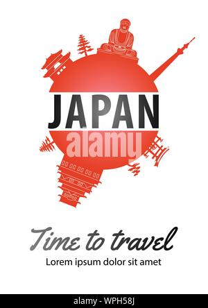 famous landmark of japan  on globe brochure design in national flag color design theme,time to travel,vector illustration - Stock Photo