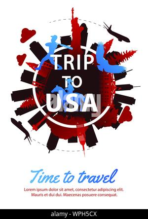 USA top famous landmark silhouette style around text,national flag color red and blue design,travel and tourism,vector illustration - Stock Photo