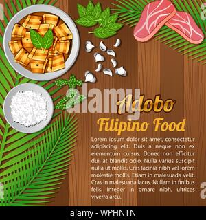 food ingredients elements set banner on wooden background,Philippines,vector illustration - Stock Photo