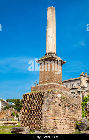 Honorary Column at the Roman Forum in Rome - Stock Photo