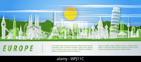 Europe famous landmark paper cut style with green  blue and white color design,vector illustration - Stock Photo