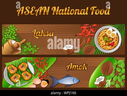 Asean National food ingredients elements set banner on wooden background,Singapore and Cambodia,vector illustration - Stock Photo