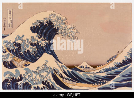 The Great Wave off Kanagawa also known as The Great Wave or simply The Wave, after a woodblock print by the Japanese ukiyo-e artist Katsushika Hokusai, 1760 - 1849.  The Great Wave off Kanagawa has become the best known of a print series known as Thirty-six View of Mount Fuji created by Hokusai in the early 1830's. - Stock Photo