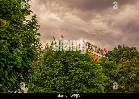 STUTTGART,GERMANY - SEPTEMBER 05,2019:Weilimdorf This is the logo of the Vector Informatik GmbH,a successful software developer company. - Stock Photo