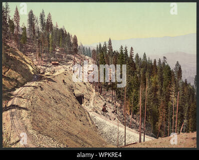 Loop and tunnels, Siskiyou Mountains, California; - Stock Photo