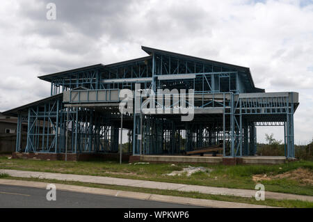 A new home being constructed with steel frames in a residential area of the city of Ipswich, a metropolitan area of Brisbane in Queensland, Australia - Stock Photo