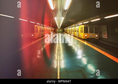 Train Entering In Subway Station - Stock Photo