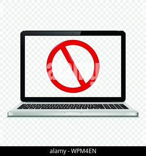 Laptop with no sign on transparent screen - Stock Photo
