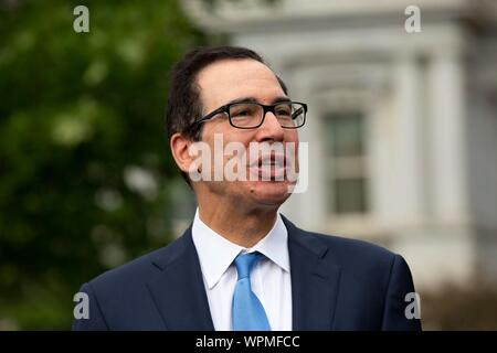Washington, United States Of America. 09th Sep, 2019. United States Secretary of the Treasury Steven T. Mnunchin speaks to the press following a television interview outside the White House in Washington, DC, U.S. on September 9, 2019. Credit: Stefani Reynolds/CNP | usage worldwide Credit: dpa/Alamy Live News - Stock Photo