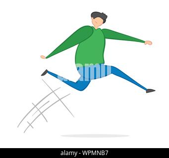 Vector illustration man jumping. Hand drawn. Colored outlines. - Stock Photo