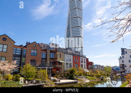 Modern architecture in Vastra Hamnen district, with the Turning Torso building from spanish arquitect Santiago Calatrav - Stock Photo