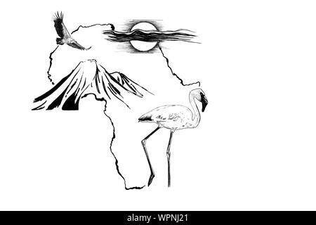 Flamingo on Africa map background with Kilimanjaro mountain, vulture and sun. Collection of hand drawn illustrations (originals, no tracing)