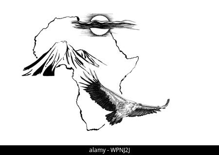 Vulture on Africa map background with Kilimanjaro mountain and sun. Collection of hand drawn illustrations (originals, no tracing)