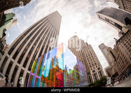The glass cube at the entrance to the Apple store on Fifth Avenue in New York is covered with a rainbow skin on Monday, September 9, 2019 in advance of the Apple special event announcement tomorrow. Apple is expected to announce a number of new and upgraded products including iPhones.  (© Richard B. Levine) - Stock Photo