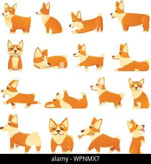 Corgi dogs icons set. Cartoon set of corgi dogs vector icons for web design - Stock Photo