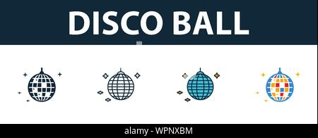 Disco Ball icon set. Four elements in diferent styles from party icon icons collection. Creative disco ball icons filled, outline, colored and flat - Stock Photo