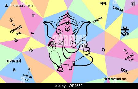 ganesha hindu god in silhouette stock vector art