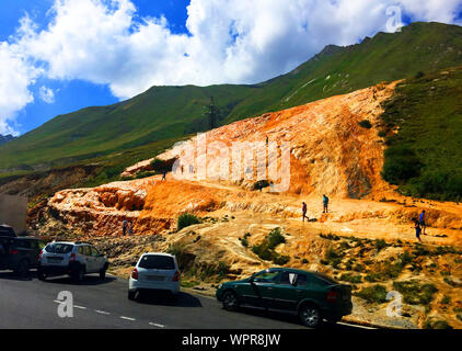 Gudauri / Georgia - August 31, 2017: Sulphur water. Mineral water of Mineral springs in Gudauri In Kazbegi District. - Stock Photo