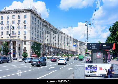 Kiev, Kyiv: main street Khreshchatyk, Stalinist architecture in , Kyiv, Ukraine - Stock Photo