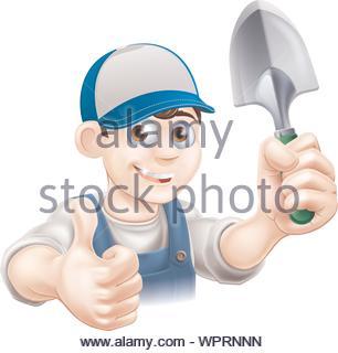 Thumbs up Gardener with Trowel - Stock Photo