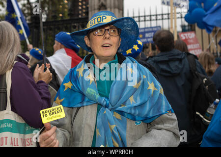 Westminster, London, UK. 9th Sept, 2019. Anti Brexit campaigner Steve Bray, outside Parliament. Penelope Barritt/Alamy Live News - Stock Photo