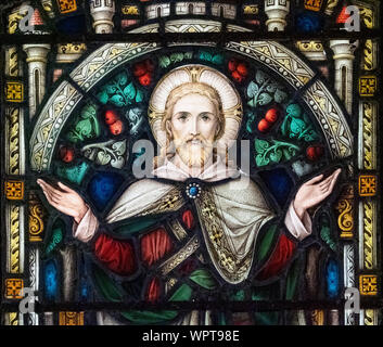 A stained glass window featuring Jesus Christ in Jersey Museum, St Helier, Jersey, Channel Islands. - Stock Photo