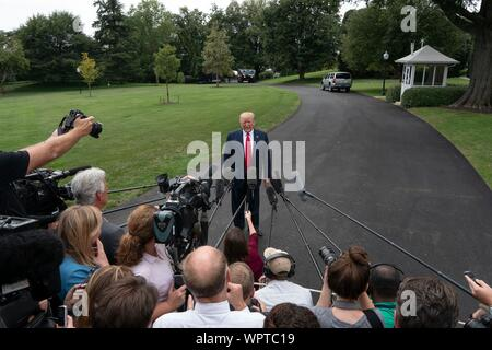 Washington, United States Of America. 09th Sep, 2019. United States President Donald J. Trump speaks to the press as he departs the White House in Washington, DC, U.S. for a rally in North Carolina on September 9, 2019. Credit: Stefani Reynolds/CNP | usage worldwide Credit: dpa/Alamy Live News - Stock Photo