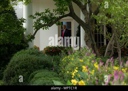 Washington, United States Of America. 09th Sep, 2019. United States President Donald J. Trump walks out of the Oval Office of the White House in Washington, DC, U.S. on September 9, 2019. Credit: Stefani Reynolds/CNP | usage worldwide Credit: dpa/Alamy Live News - Stock Photo