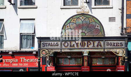 The stained  glass canopy of the Olympia Theatre, Erected in 1890 and damaged by a truck in 2004 it was reinstated in 2007. - Stock Photo