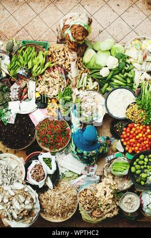 High Angle View Of Various Vegetables On Display At Market - Stock Photo