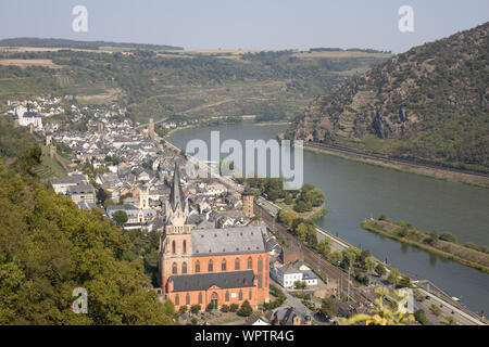 A view of Oberwesel on the banks of the Rhine, Germany - Stock Photo