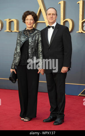London, UK. 09th Sep, 2019. London - England - Sep 9: Olwen May and Kevin Doyle attends the 'World Premiere Of Downton Abbey' in Leicester Square, London, UK on the 9 September 2019. Gary Mitchell/Alamy Live News - Stock Photo