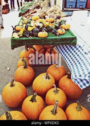 Pumpkins For Sale At The Market - Stock Photo