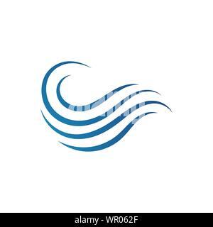 Ocean Water Waves logo Design Vector Template illustrations - Stock Photo
