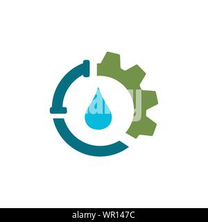 plumbing and water repair supply systems drainage logo design vector - Stock Photo